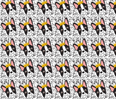 Tiny Queen Daisy the Boston Terrier  fabric by missyq on Spoonflower - custom fabric