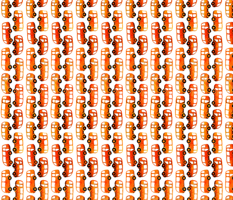 Orange Buses Going Up and Down fabric by fussypants on Spoonflower - custom fabric
