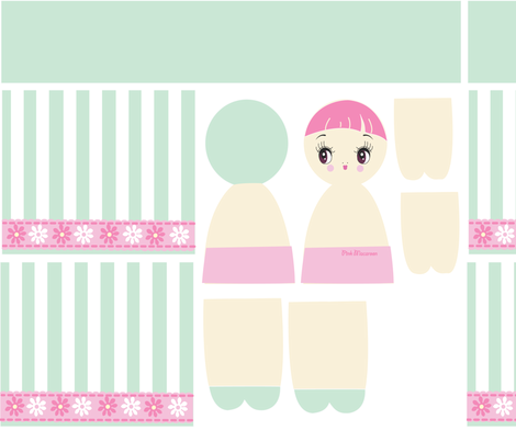 Mint Bunka Doll Pattern fabric by pinkmacaroon on Spoonflower - custom fabric