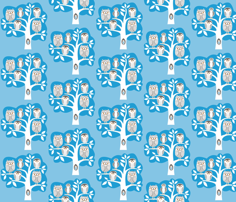 blue_owl_tree fabric by antoniamanda on Spoonflower - custom fabric