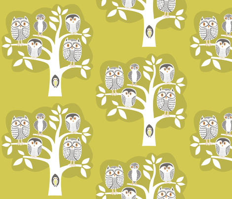 gold_owl_tree_2 fabric by antoniamanda on Spoonflower - custom fabric