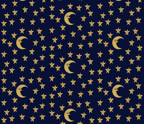 Moon and stars fabric heidikenney spoonflower for Fabric with moons and stars