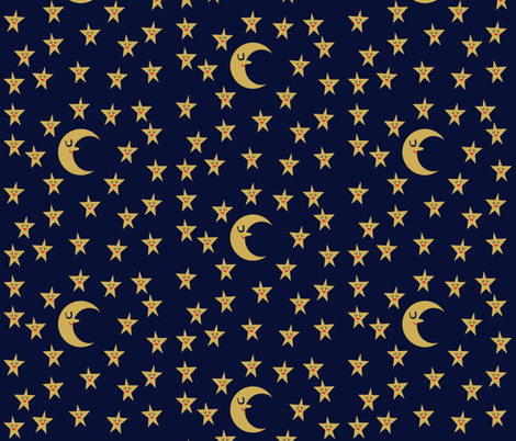 moon and stars fabric by heidikenney on Spoonflower - custom fabric