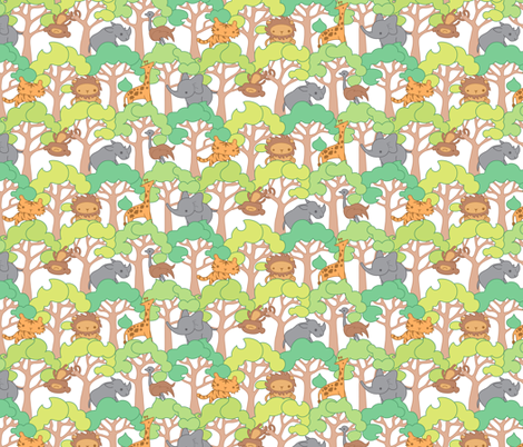Safari Trees fabric by jillianmorris on Spoonflower - custom fabric