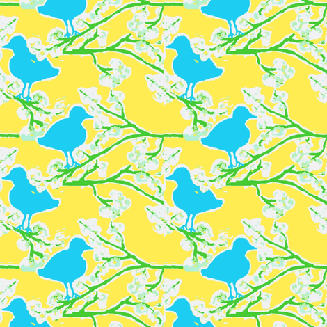 blossom and bluebird ©2012 Jill Bull fabric by palmrowprints on Spoonflower - custom fabric