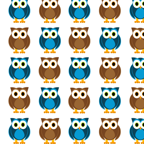 Blue and Brown Owls Print fabric by jsdesigns on Spoonflower - custom fabric