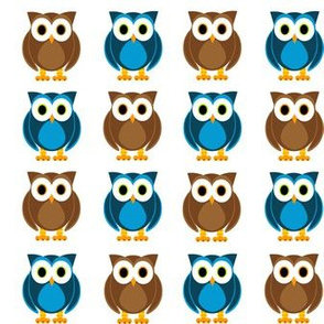 Blue and Brown Owls Print