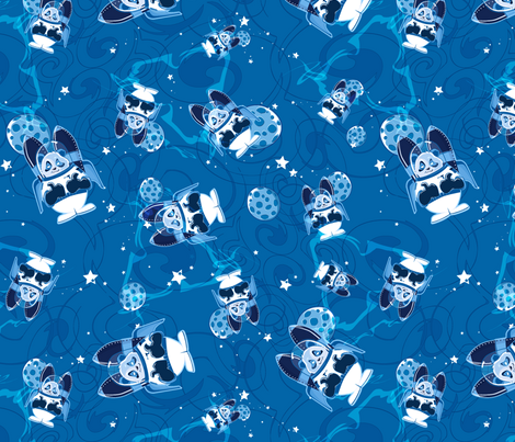 Blue Rocket Panda is Go for Launch fabric by jsheastanley on Spoonflower - custom fabric