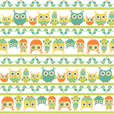 Owl Parade fabric by saraink on Spoonflower - custom fabric