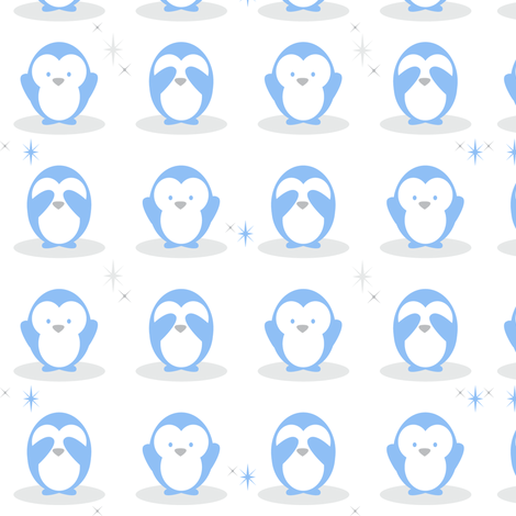 Baby Boy Blue Penguins fabric by doodletrain on Spoonflower - custom fabric