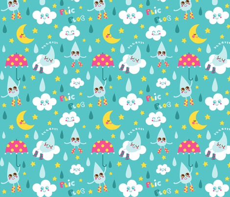 Douce pluie fabric by katiavial on Spoonflower - custom fabric