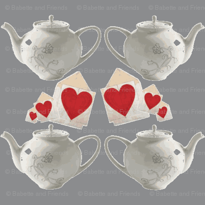 Teapots and Hearts Grey large