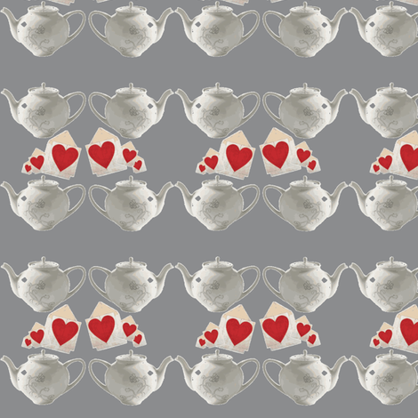 Teapots and Hearts Grey large fabric by bfabric on Spoonflower - custom fabric
