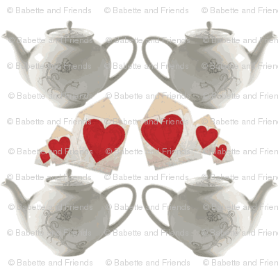 Teapots and Hearts white Large