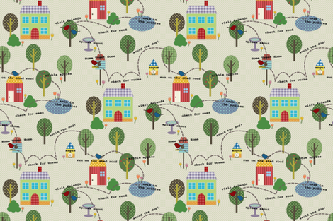 A map for my feathered friends fabric by littlerhodydesign on Spoonflower - custom fabric