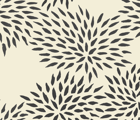 Summer Mums in charcoal on off-white fabric by domesticate on Spoonflower - custom fabric