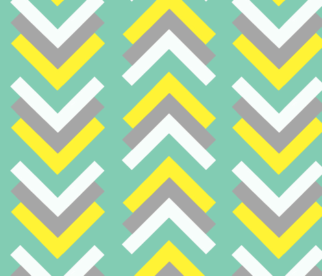 boomerang aqua yellow grey fabric by cristinapires on Spoonflower - custom fabric