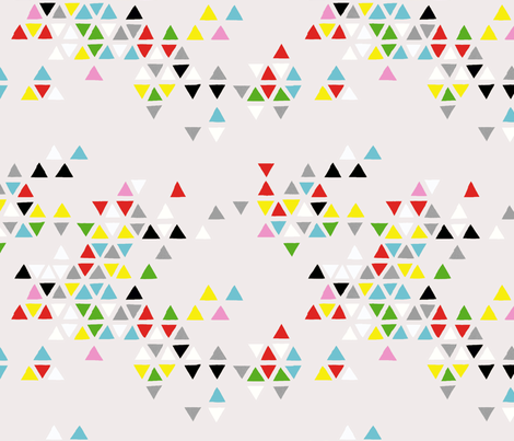 triangle clouds multi-color on grey fabric by cristinapires on Spoonflower - custom fabric