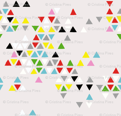 triangle clouds multi-color on grey