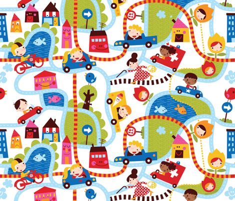 En route to 'Bora Town' fabric by bora on Spoonflower - custom fabric