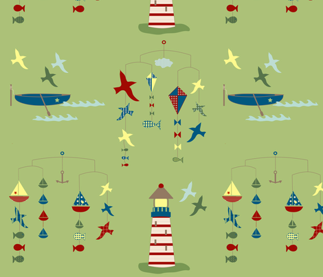 lakeside scenes - green fabric by krihem on Spoonflower - custom fabric