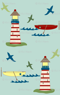 lighthouse and rowboat - blue