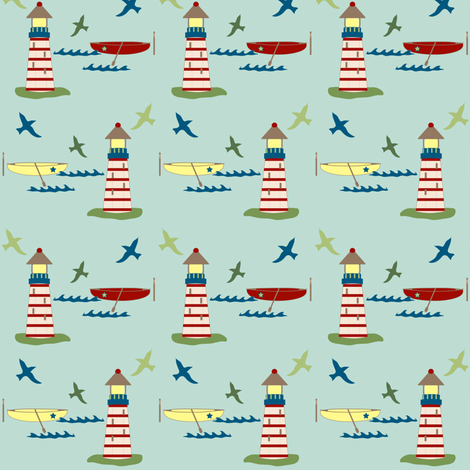 lighthouse and rowboat - blue fabric by kri8f on Spoonflower - custom fabric