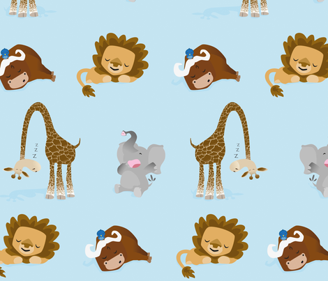 Sleepy_Safari_1 fabric by sampson on Spoonflower - custom fabric