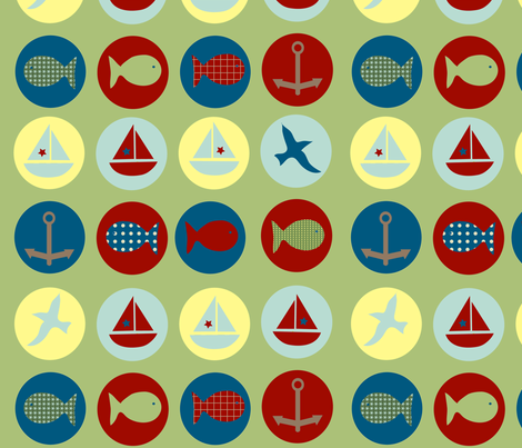 lakeside icons - green fabric by krihem on Spoonflower - custom fabric