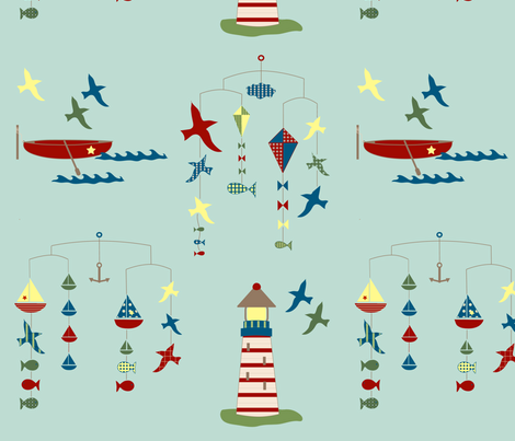 lakeside scenes - blue fabric by krihem on Spoonflower - custom fabric