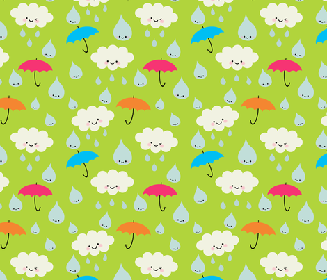 Rain, Rain, DON'T Go Away - green fabric by yellowkitty on Spoonflower - custom fabric