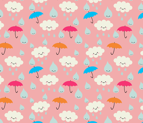 Rain, Rain, DON'T Go Away - Pink fabric by yellowkitty on Spoonflower - custom fabric