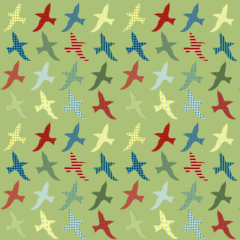 lake birds - green fabric by krihem on Spoonflower - custom fabric