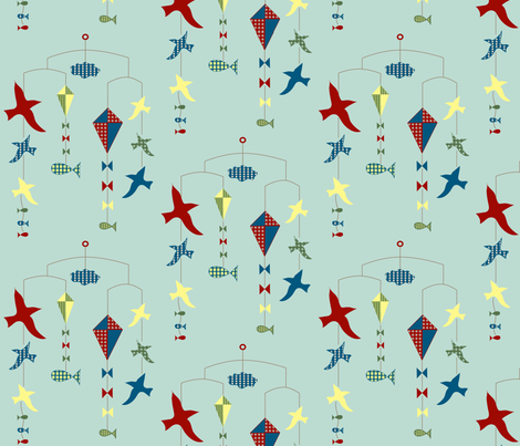 land, sea, and air mobile fabric by krihem on Spoonflower - custom fabric