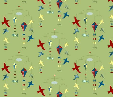 lakeside scenes mobile fabric by krihem on Spoonflower - custom fabric