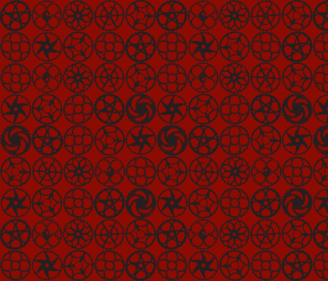 gears in black fabric by luluhoo on Spoonflower - custom fabric