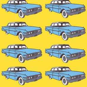 Light Blue 1960 Ranger 2 door sedan on yellow background