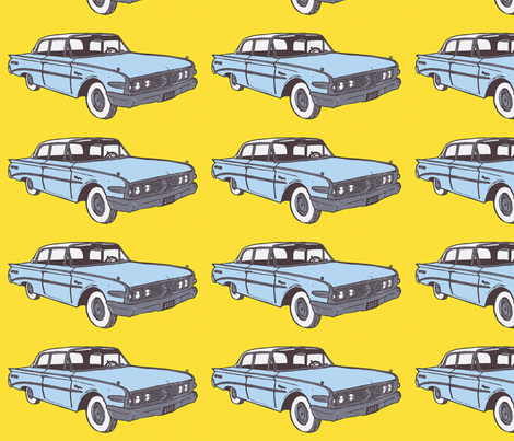 light blue 1960 Edsel Ranger on yellow background fabric by edsel2084 on Spoonflower - custom fabric