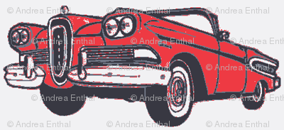 red 1958 Edsel Citation convertible on white background