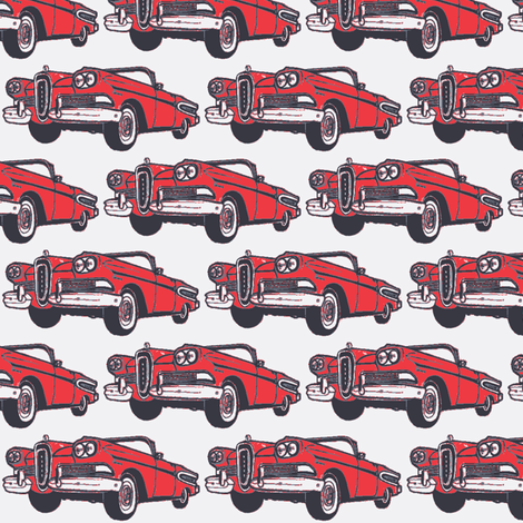 red 1958 Edsel Citation convertible on white background fabric by edsel2084 on Spoonflower - custom fabric