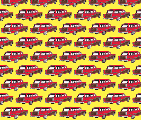 Red 1958 Edsel Bermuda on yellow background fabric by edsel2084 on Spoonflower - custom fabric