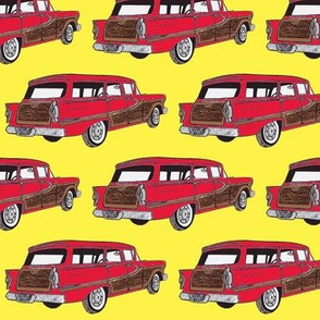 Red 1958 Edsel Bermuda on yellow background