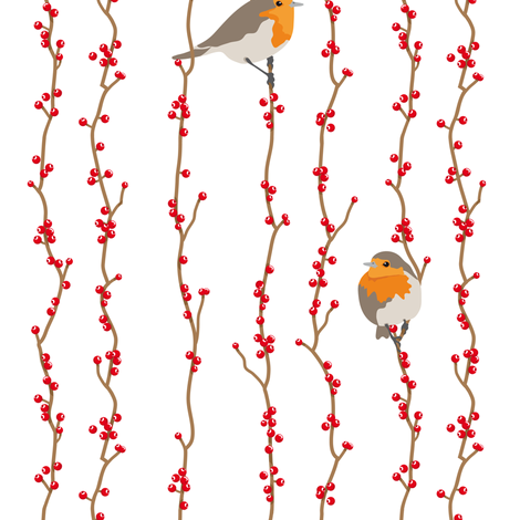 Red Birds (eating berries) fabric by verycherry on Spoonflower - custom fabric