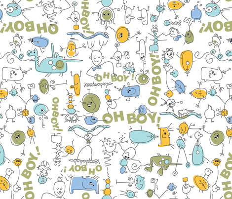 Oh Boy! Blue fabric by create_shades on Spoonflower - custom fabric