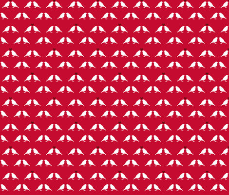 Red Birds (with little hearts) fabric by verycherry on Spoonflower - custom fabric