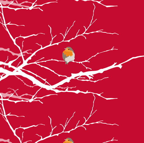 Red Birds (on branches) fabric by verycherry on Spoonflower - custom fabric