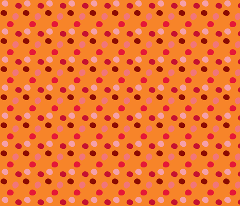 pois_rouge_fond_orange fabric by nadja_petremand on Spoonflower - custom fabric