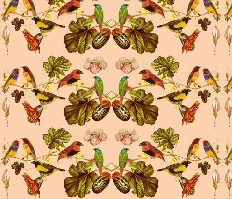 Birds & flowers fabric by sadie_ruben on Spoonflower - custom fabric