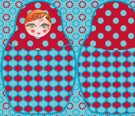 coussin_poupée_russe_bleu fabric by nadja_petremand on Spoonflower - custom fabric