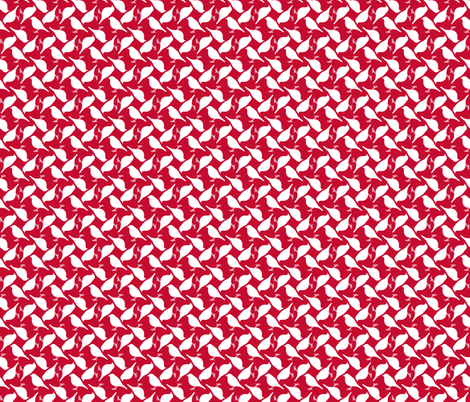Red Birds (white squares) fabric by verycherry on Spoonflower - custom fabric